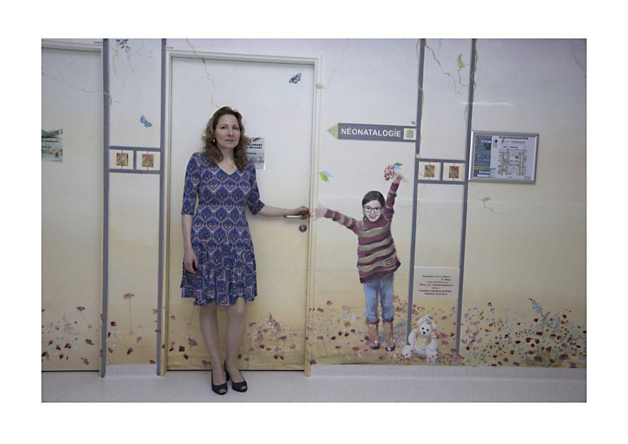 Inauguration des fresques en présence de l'artiste Nathalie Bibas.