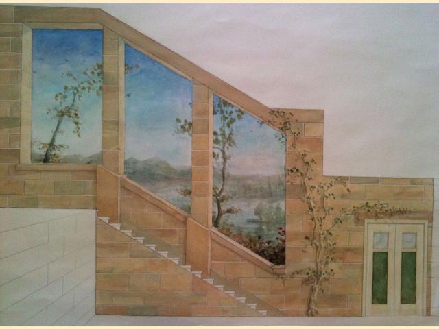 Panoramique - Trompe l'oeil et fausse pierre - Cage d'escalier - Monument - Paris.