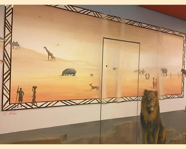 09-1-Necker-Centre Hospitalier Universitaire  Necker-Paris-P diatrie-D cor Mural- Le voyage   travers les contes  l Afrique  1