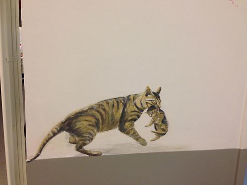 Chats peints sur mur - Necker - Le voyage à travers les contes - Affabulation.