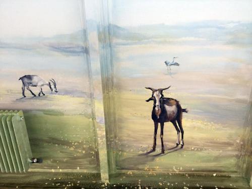 Chèvres peintes sur mur - Sevran - CHU René Muret.