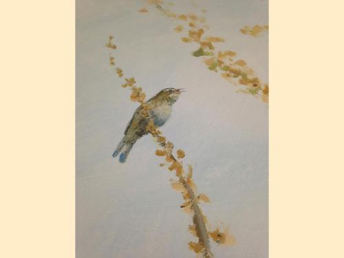 Oiseau peint sur mur - Néonatalogie - Corbeil.