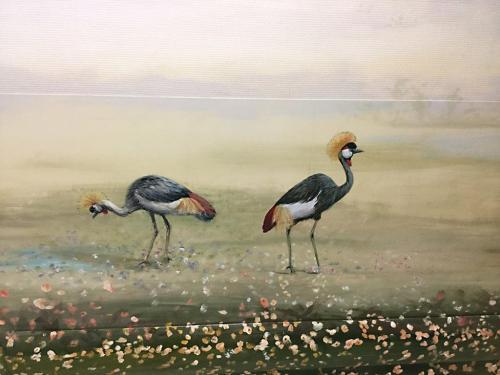 Oiseaux peints sur mur - Néonatalogie - Corbeil - Balade au bord de l'eau.