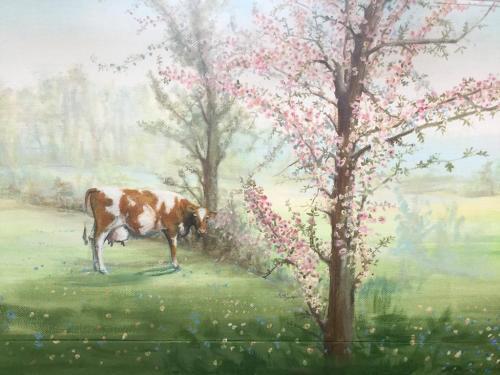 Vache peinte sur mur - Sevran - CHU René Muret.