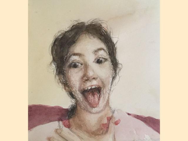 Portrait aquarelle sur papier - Série enfantines sagesses - Humour