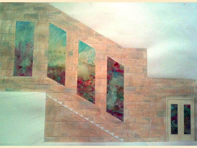 Fausse-pierre et panneaux colorés - Cage d'escalier - Paris